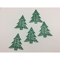 Laser Cut Decorative Christmas Green Trees x 10