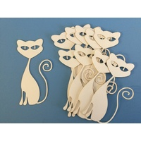 Ivory 285gsm Card Laser Cut Cat Claudia x 5