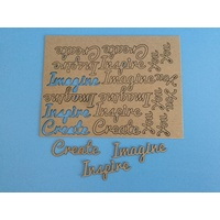 Create, Inspire, Imagine Laser Cut Kraft Wording