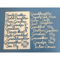 Family Ivory Card Wording Laser Cut A4