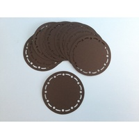 Circle Dash & Dot Stitched Die Cut Shapes Black x 10