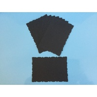 Fancy Deckle Edged Large Die Cut Rectangles BLACK x 10