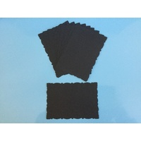 Fancy Deckle Edged Small Die Cut Rectangles Black x 10