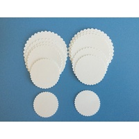 Scalloped Circles White Linen x 12