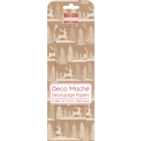 Deco' Mache' Kraft Stag Decoupage Papers