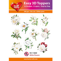 Hearty Crafts White Flowers Die Cut Paper Tole