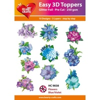 Hearty Crafts Blue & Violet Flowers Die Cut Paper Tole