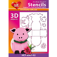 Hearty Crafts Pig 3D Stencil 20cm x 30cm
