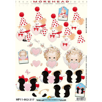 Clown, Penguin and Cherub Heart Paper Tole