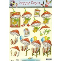 Toadstool Birthday Paper Tole