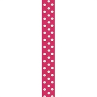 Grosgrain Woven Edge 9mm Spotted Hot Pink 15mtrs