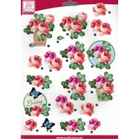 Flower Loving Die Cut Paper Tole Decoupage Sheet