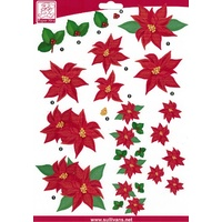 Poinsettia Christmas Die Cut Paper Tole Decoupage Sheet