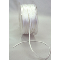 2mm Satin Rat Tail White Cord - 5 Mtr