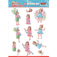 Bubbly Girls Party Time A4 Die Cut Paper Tole Decoupage