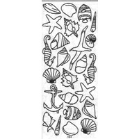 Sea Shell Sticker with Seahorse & Anchor BLACK