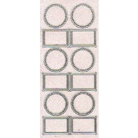 Rectangle and Circles Transparent Glitter Sticker SILVER