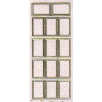 Stitched Rectangles Transparent Glitter Sticker GOLD