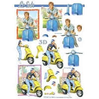 Boys & Girls on Mopeds Paper Tole
