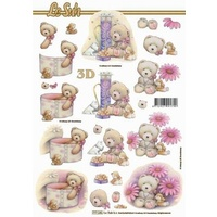 Baby Pink Bears Paper Tole