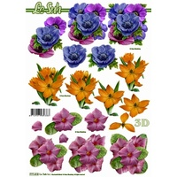 Purple, Orange & Pink Floral Paper Tole Sheet