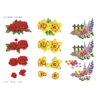 Roses, Daffodils & Garden Fence Paper Tole Sheet