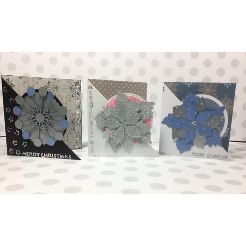 Christmas Card Making Kit Blue, Pink, Silver and Grey Number Two