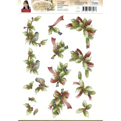 Christmas Nature Holly Branches Die Cut Paper Tole Decoupage Sheet