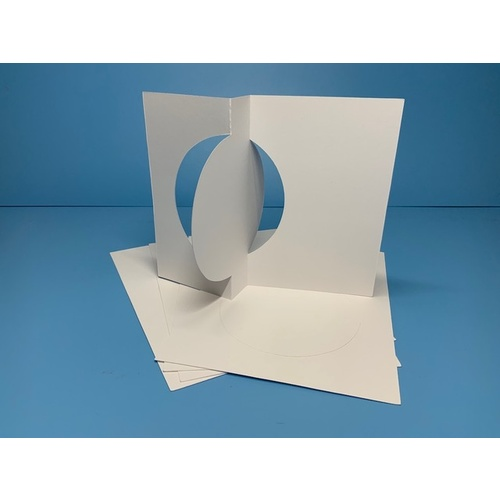Circle Flip Cards White 300gsm x 5 with Envelopes
