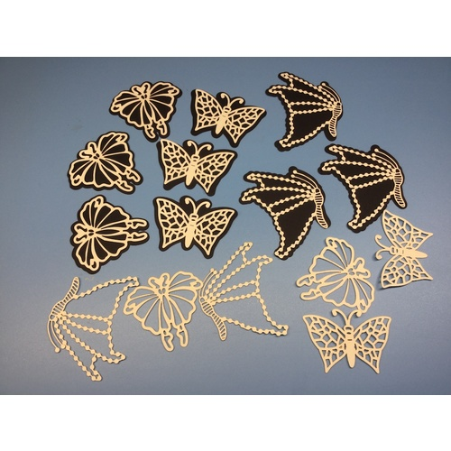 Laser Cut Butterflies  x 15 Ivory Card with Black Shadow Layers