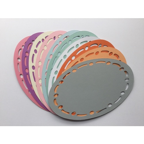 Coloured Oval Stitched Die Cut Shapes x 10