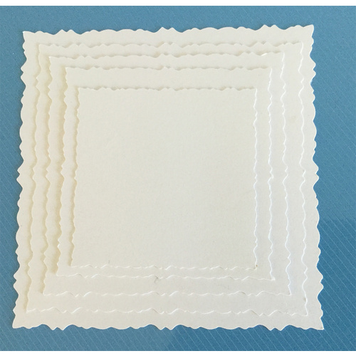 Deckle Edged Die Cut Squares White x 10 Nested