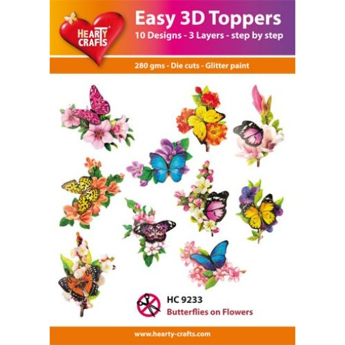Hearty Crafts Butterfly on Flowers Die Cut Paper Tole