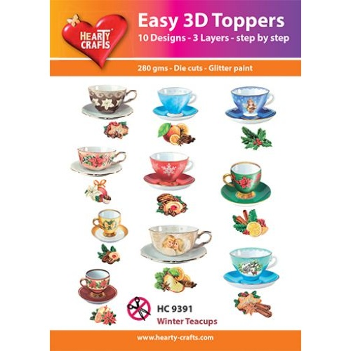 Hearty Crafts Winter Teacups  Die Cut Paper Tole