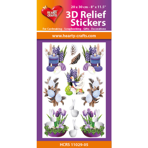 Easter Flowers, Candles & Rabbits 3D Relief Embossed Stickers