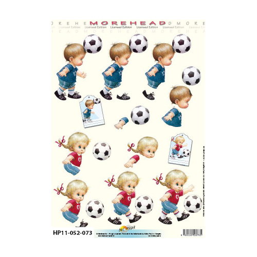 Soccer Playing Toddlers Paper Tole