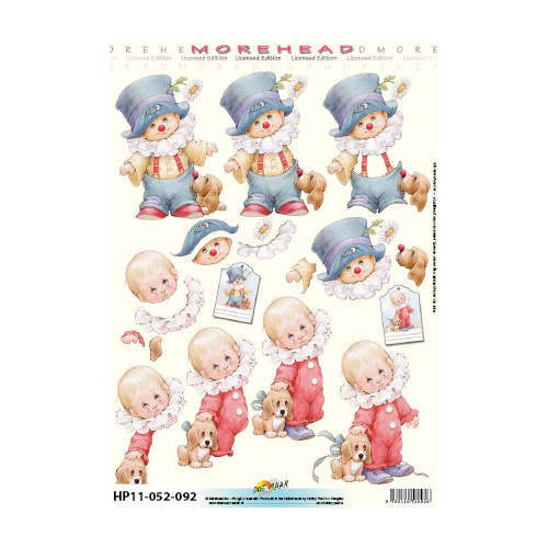 Toddlers in Clown Outfits Paper Tole