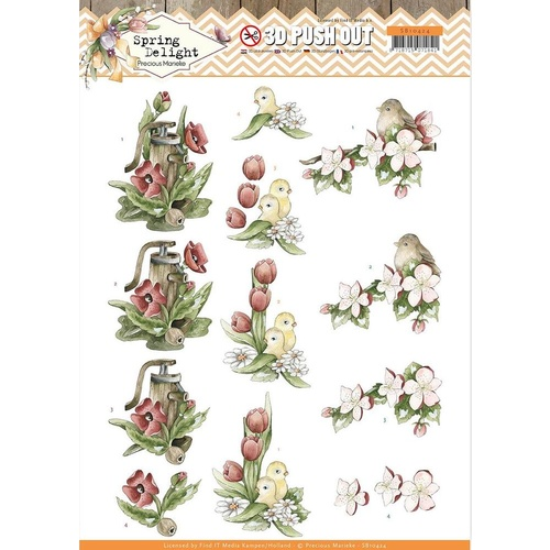 Find It Trading Precious Marieke Spring Delight Red Flowers Die Cut Sheet