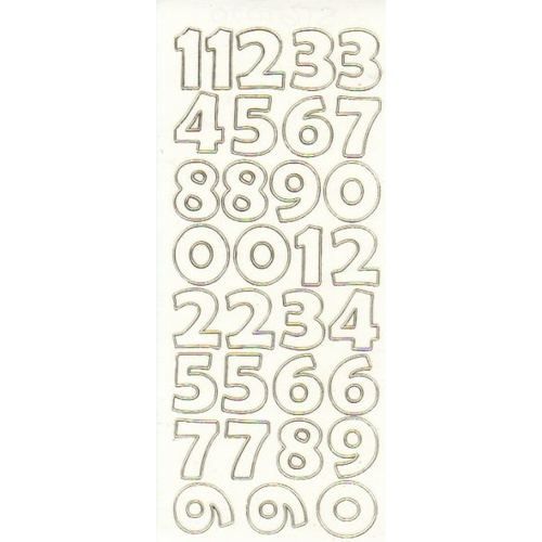 Numbers Large Transparent Glitter