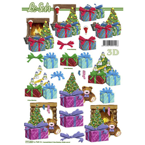 Teddy & Tree Christmas Paper Tole