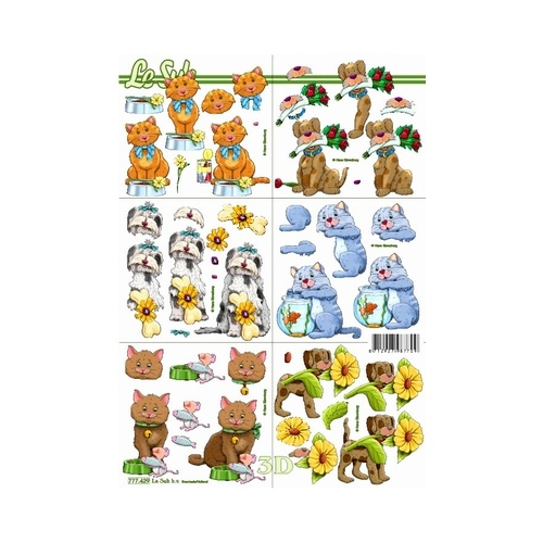 Cartoon Cats & Dogs Mini Paper Tole Sheet