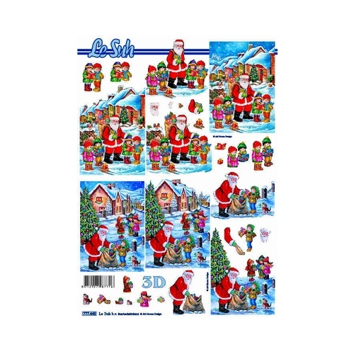 Santa & Children Delivering Presents Paper Tole