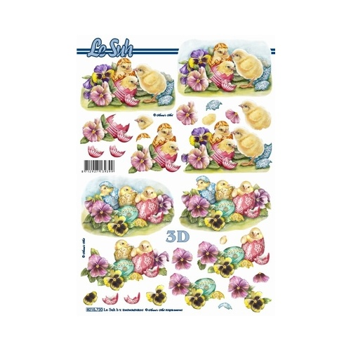 Easter Chicks & Pansies Paper Tole