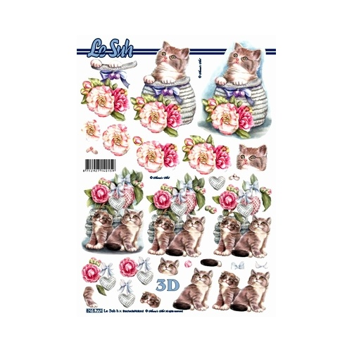 Cats, Flowers & Hearts Paper Tole