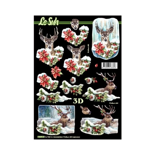 Snow Forest Reindeer Christmas Paper Tole