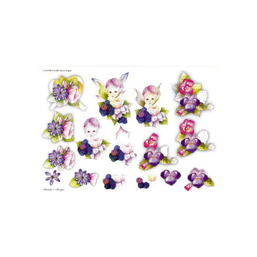Flowers & Cute Girly Paper Tole Sheet